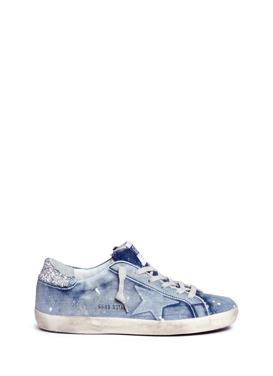 Superstar bleach effect jersey sneakers by Golden Goose