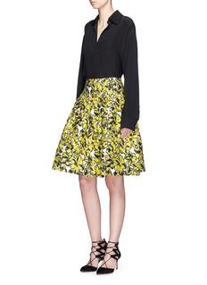 Oscar de la RentaFloral cloqué jacquard pleated skirt