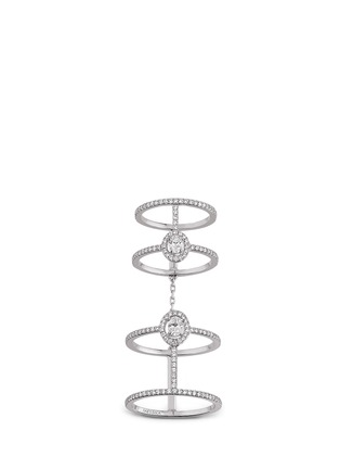 Main View - Click To Enlarge - Messika - 'Amazone Double Pavé' diamond 18k white gold ring