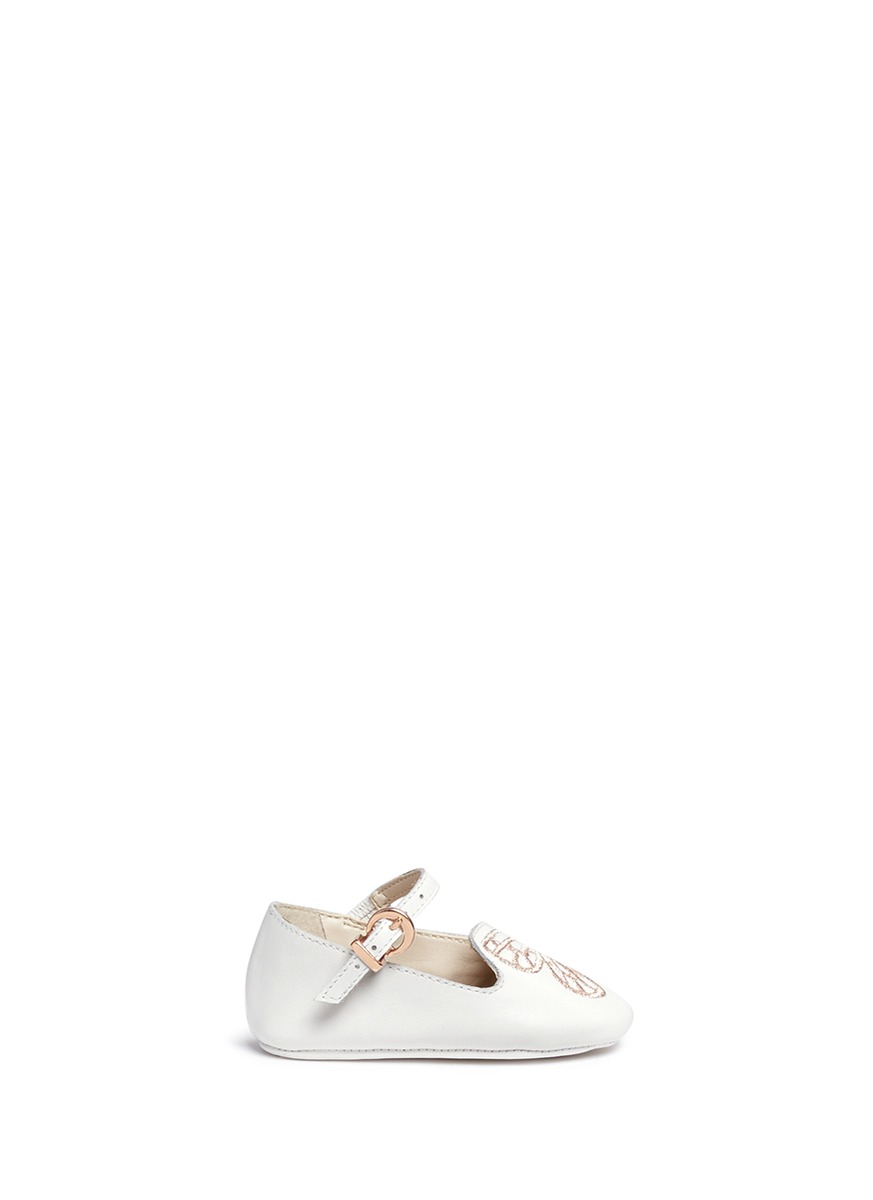 Bibi Butterfly Baby embroidered leather infant Mary Jane flats by Sophia Webster