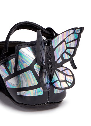 Detail View - Click To Enlarge - Sophia Webster - 'Chiara Baby' holographic butterfly suede infant Mary Jane flats