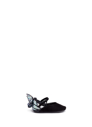 Main View - Click To Enlarge - Sophia Webster - 'Chiara Baby' holographic butterfly suede infant Mary Jane flats