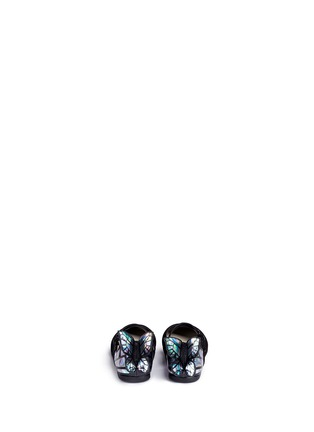Back View - Click To Enlarge - Sophia Webster - 'Chiara Mini' holographic butterfly suede toddler Mary Jane flats