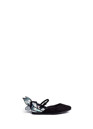 Main View - Click To Enlarge - Sophia Webster - 'Chiara Mini' holographic butterfly suede toddler Mary Jane flats