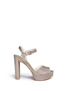 Stuart Weitzman'Sashay' glitter mesh platform sandals