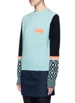 Colourblock geometric intarsia wool blend sweater