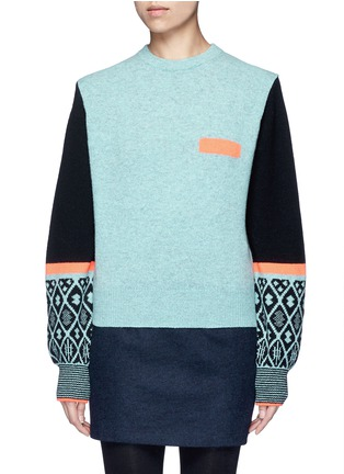 Main View - Click To Enlarge - TOGA ARCHIVES - Colourblock geometric intarsia wool blend sweater