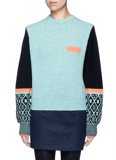 TOGA ARCHIVES Colourblock geometric intarsia wool blend sweater