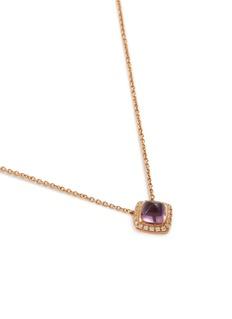 Fred 'Pain de Sucre' diamond amethyst 18k rose gold pendant necklace