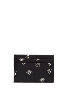 Lanvin Black widow print leather card case