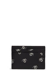 LanvinBlack widow print leather card case
