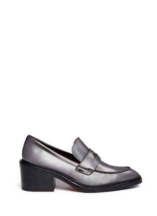Main View - Click To Enlarge - Coach - 'Heath' mirror leather penny loafers
