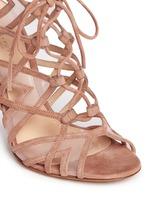 'Adria' mesh trim cutout suede sandals