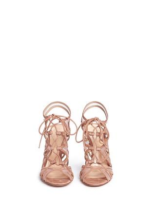 模特儿示范图 - 点击放大 - GIANVITO ROSSI - 网眼拼接系带细高跟凉鞋