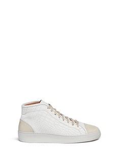 Facto'Mars' mid top croc embossed leather sneakers