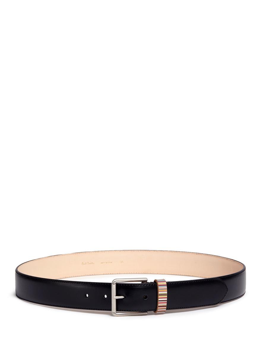 paul smith male stripe loop leather belt