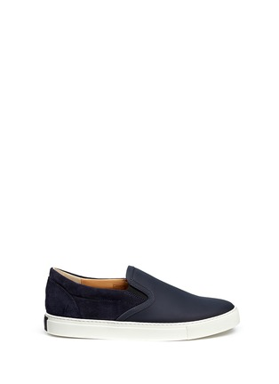 Main View - Click To Enlarge - Harrys Of London - 'Ethan Jones' suede trim tech leather skate slip-ons