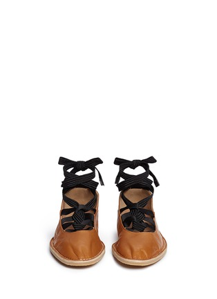 Front View - Click To Enlarge - Dries Van Noten - Lace-up leather ballerina flats