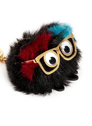 Detail View - Click To Enlarge - Sophie Hulme - 'Ernie' large sheepskin fur pompom monster keyring
