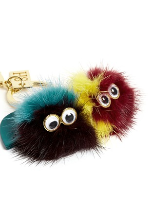 Detail View - Click To Enlarge - Sophie Hulme - 'Mr & Mrs Cherry' mink fur pompom monster keyring