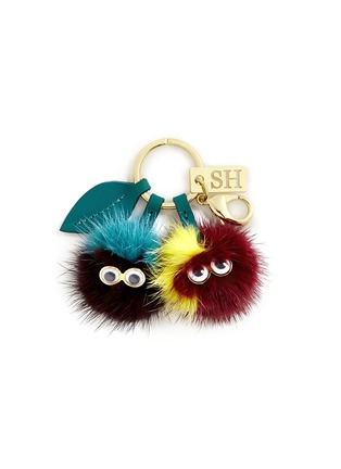 Main View - Click To Enlarge - Sophie Hulme - 'Mr & Mrs Cherry' mink fur pompom monster keyring