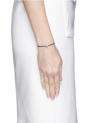 Figure View - Click To Enlarge - Ruifier - 'Happy' 18k yellow gold charm cord bracelet
