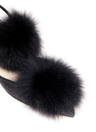 Detail View - Click To Enlarge - Jimmy Choo - 'Dolly' fox fur pompom glitter skimmer flats