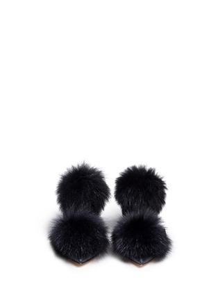 Front View - Click To Enlarge - Jimmy Choo - 'Dolly' fox fur pompom glitter skimmer flats