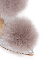 'Dolly' fox fur pompom glitter d'Orsay pumps
