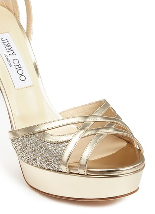 Detail View - Click To Enlarge - Jimmy Choo - 'Laurita 115' metallic glitter mesh mirror leather sandals