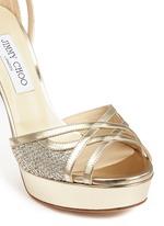 'Laurita 115' metallic glitter mesh mirror leather sandals