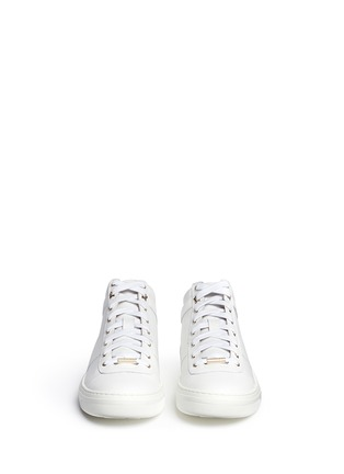 Front View - Click To Enlarge - Jimmy Choo - 'Bells' panelled leather mid top sneakers