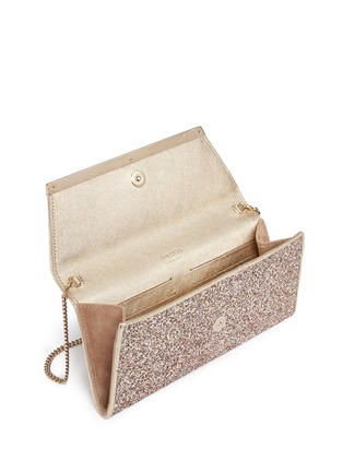 Detail View - Click To Enlarge - Jimmy Choo - 'Margot' coarse glitter flat clutch
