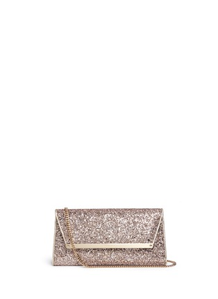 Main View - Click To Enlarge - Jimmy Choo - 'Margot' coarse glitter flat clutch