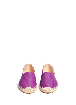 Front View - Click To Enlarge - Jimmy Choo - 'Dreya' suede embossed leather combo d'Orsay espadrilles