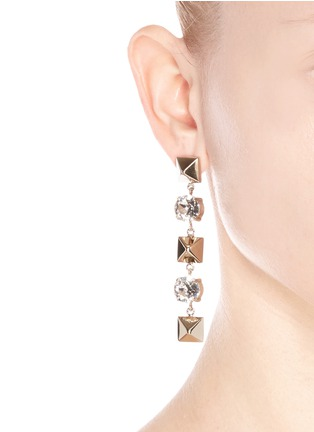 Figure View - Click To Enlarge - Valentino - Crystal Rockstud drop earrings