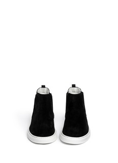 LANVIN Suede and shagreen leather sneaker boots
