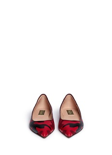 VALENTINO Camouflage print leather canvas flats