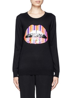 MARKUS LUPFER 'Jolly stripe' Lara lip sequin sweater
