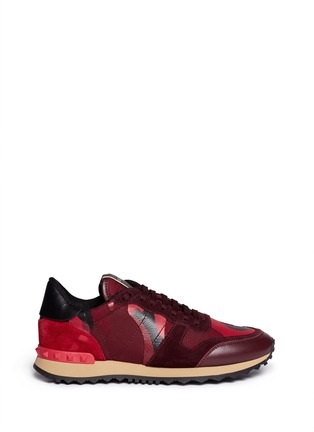Main View - Click To Enlarge - Valentino - Camouflage suede trim sneakers