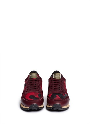 Figure View - Click To Enlarge - Valentino - Camouflage suede trim sneakers