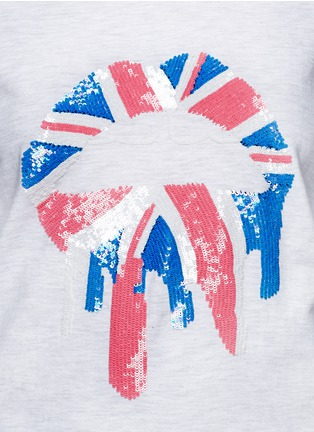 Detail View - Click To Enlarge - MARKUS LUPFER - 'Union Jack Drip Lip' sequin sweatshirt