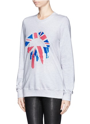 Front View - Click To Enlarge - MARKUS LUPFER - 'Union Jack Drip Lip' sequin sweatshirt