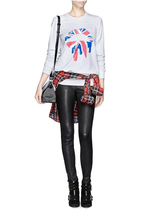 Figure View - Click To Enlarge - MARKUS LUPFER - 'Union Jack Drip Lip' sequin sweatshirt