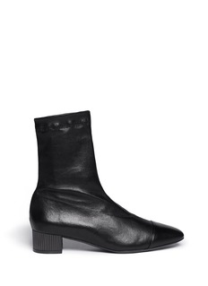 ROBERT CLERGERIE Cofre' metal heel leather ankle boots
