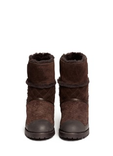 TORY BURCH 'Boughton' quilted suede shearling boots