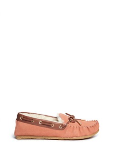 TORY BURCH 'Maxwell' fur lined suede moccasins