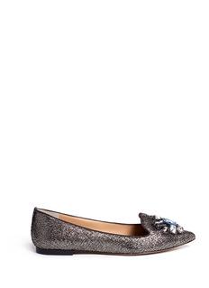 TORY BURCH'Mayada' jewel metallic suede smoking slippers