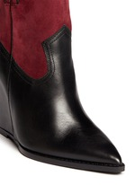 'Jude' conceal wedge leather and suede ankle boots