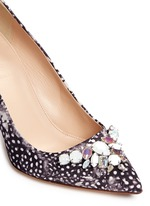 'Elsie' jeweled feather-print pumps